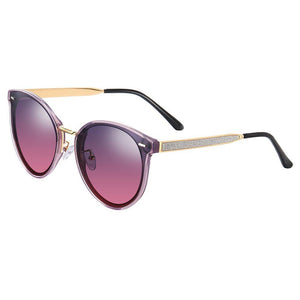 women shades with purple gradient lens, round phanto shape, gold temples with black tips