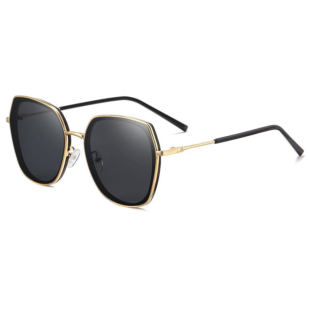 square sunglasses black lens rimmed with gold frames for women