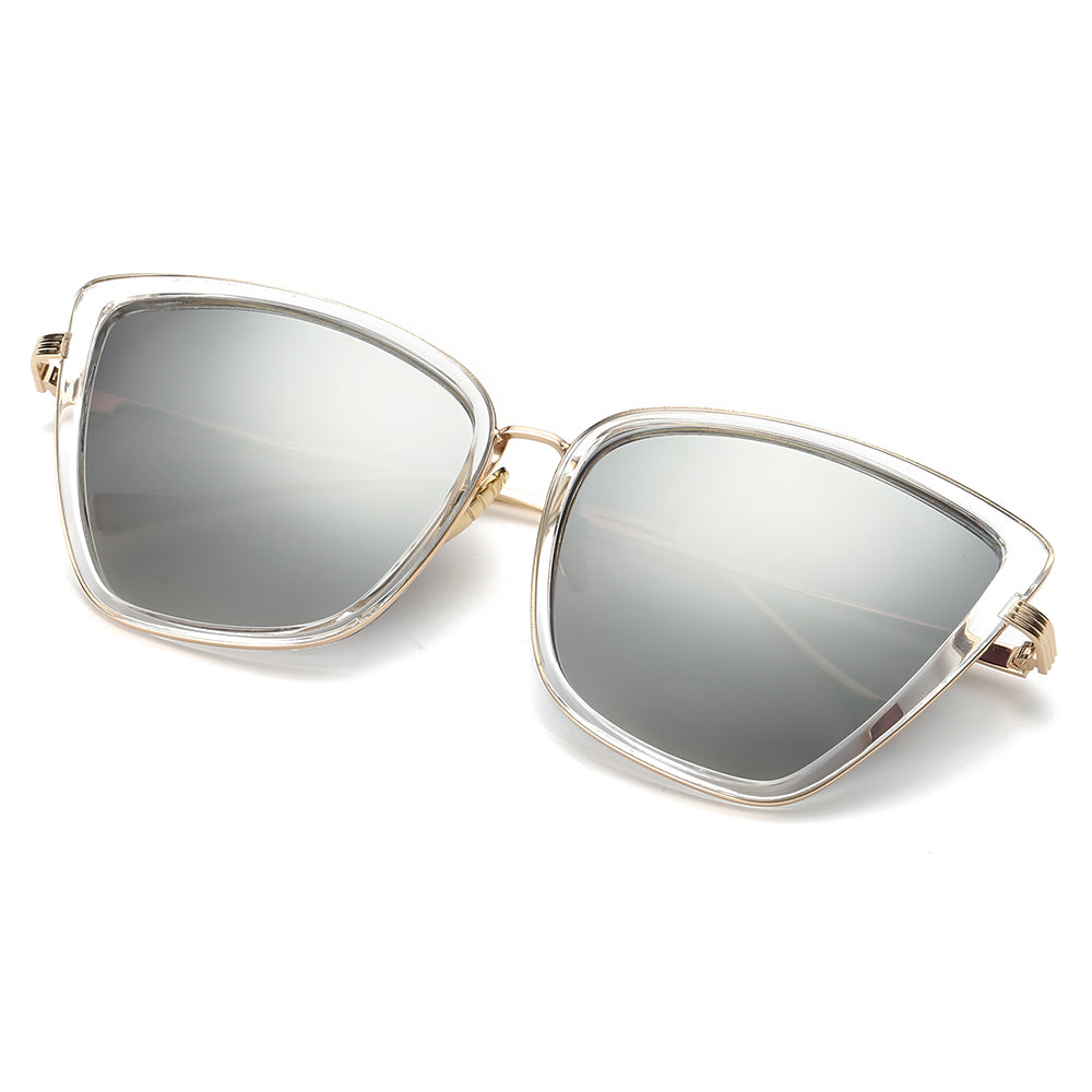 silver tinted lens and square shaped sunglasses with angular edges