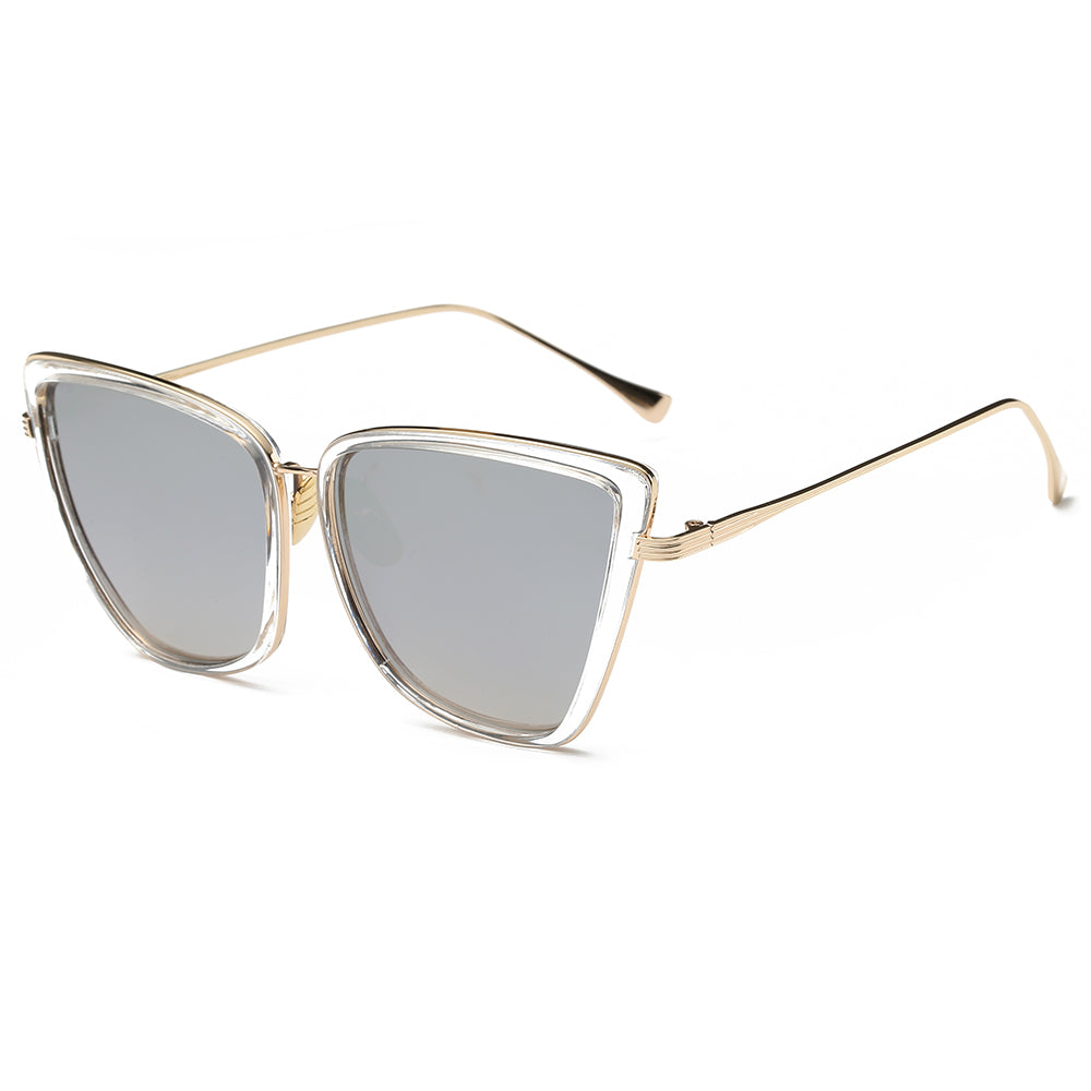 silver tinted lens sunglasses and gold temple arms
