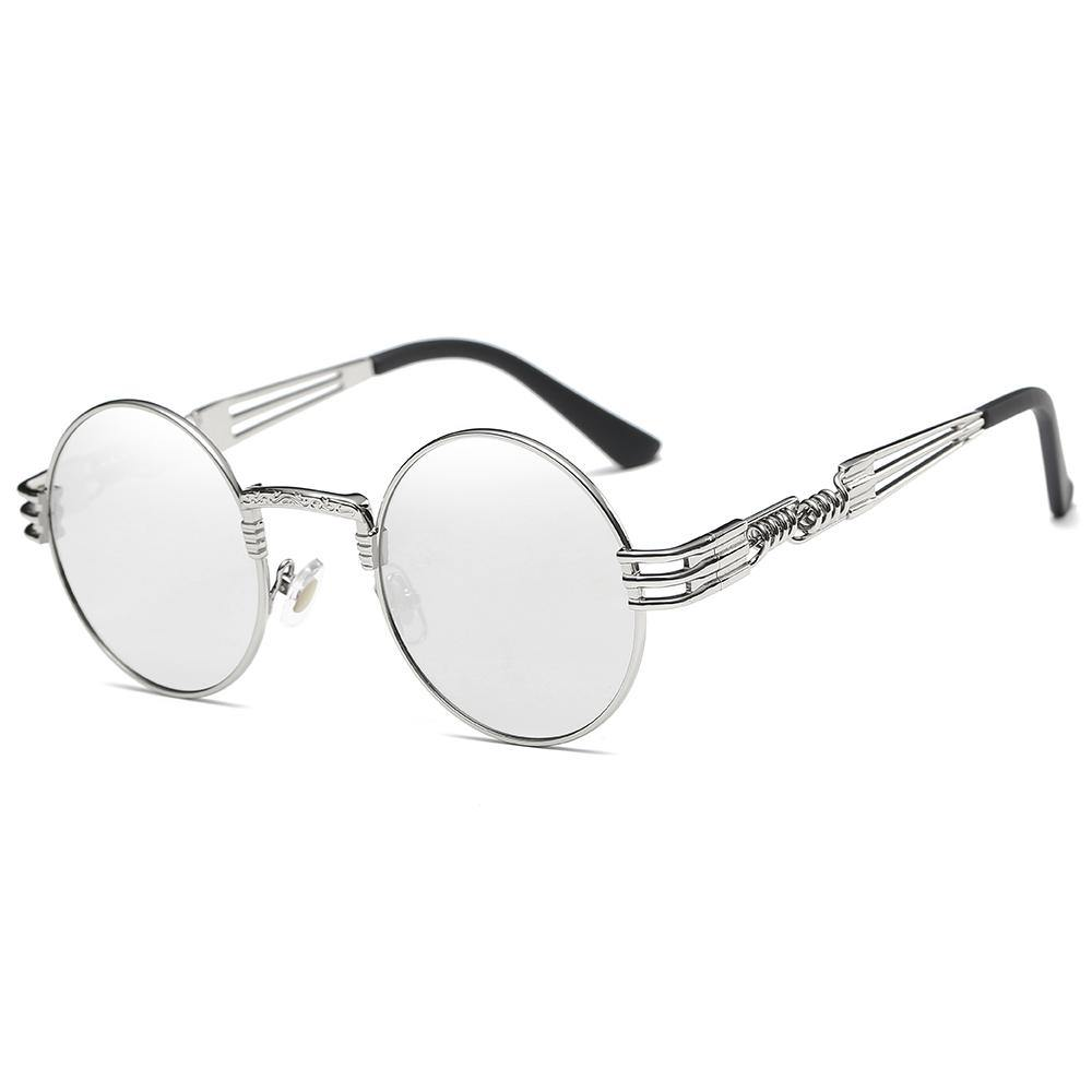 silver frames and lens, thin metal rimes, spring screw legs design