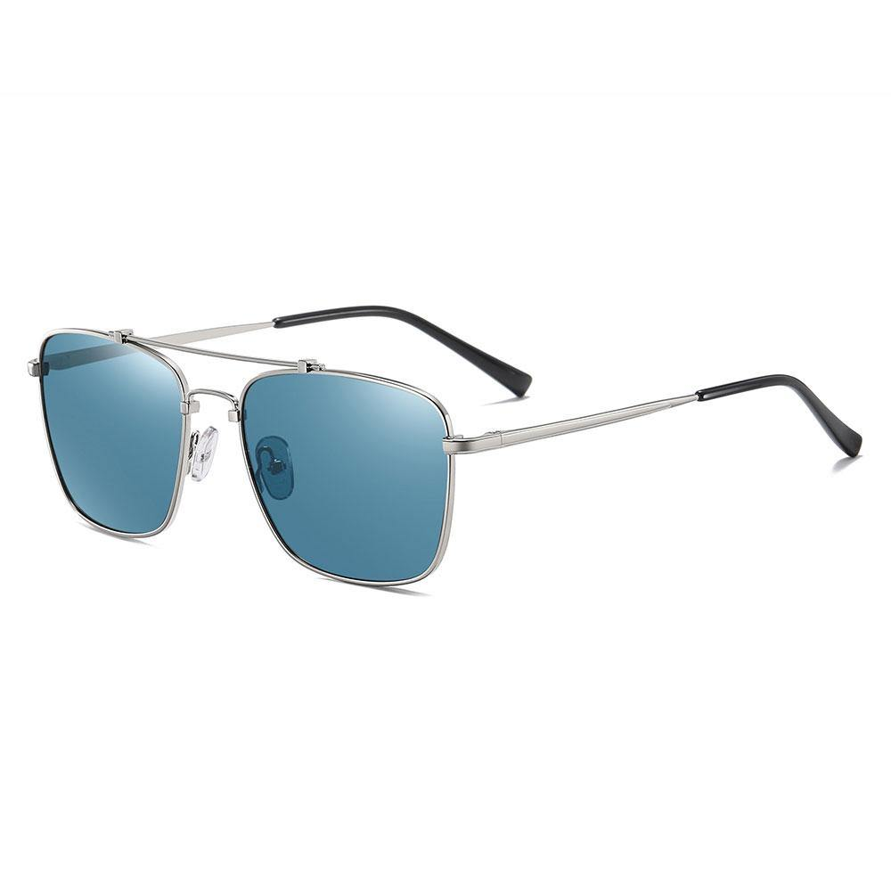 blue rectangular sunglasses with silver frame, black ending tips of the temple arms