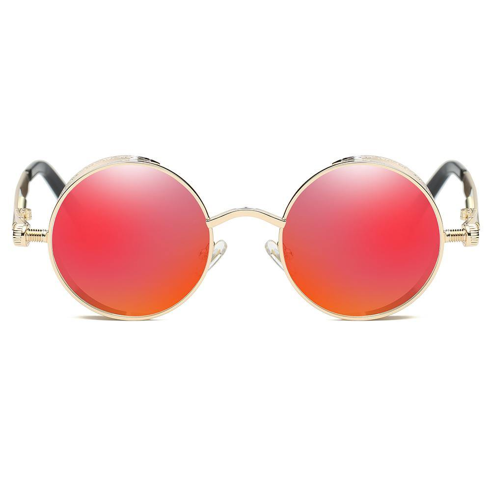 Small circle sunglasses with gold frames, Coral red tinted lens