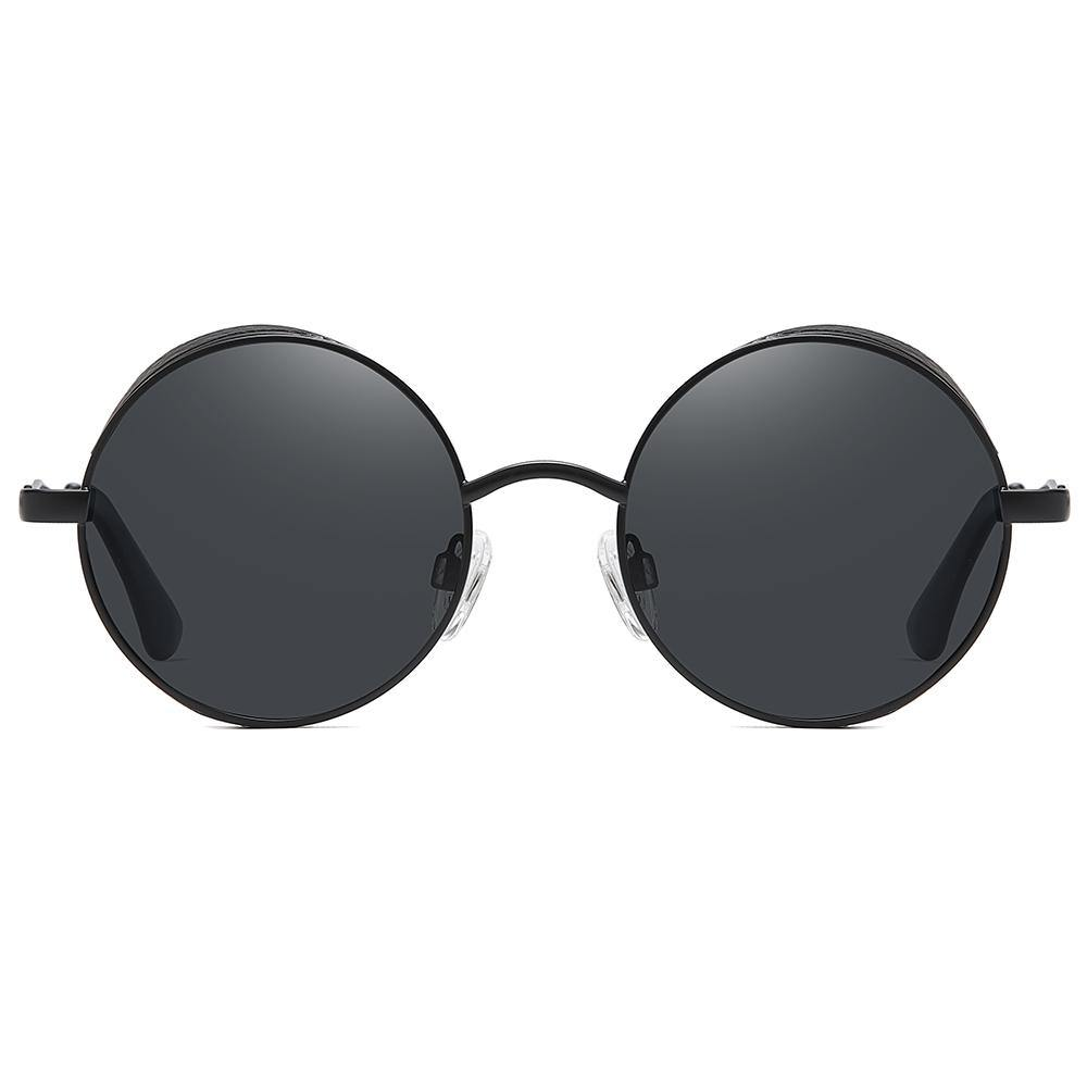small round sunglasses with black tint lens and frames