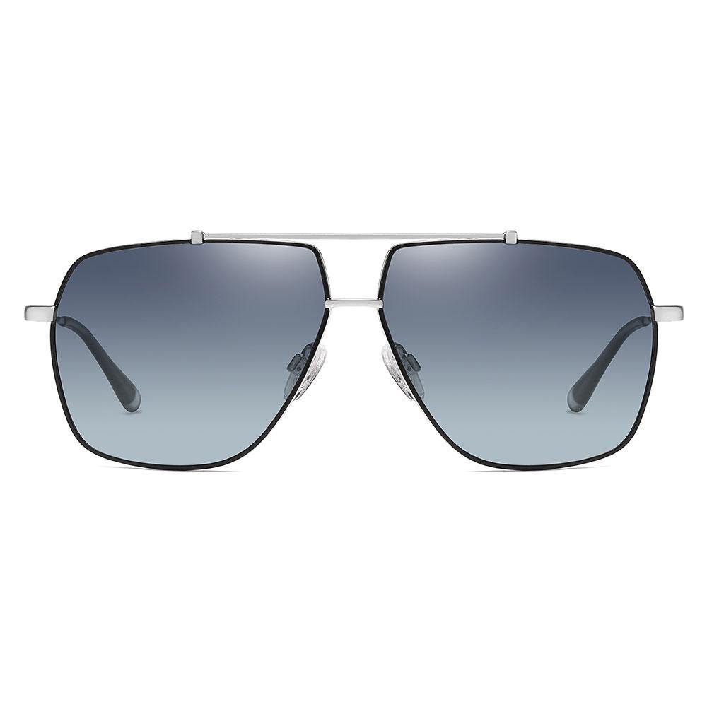 Grey prescription sunglasses with black trim, silver double bridge