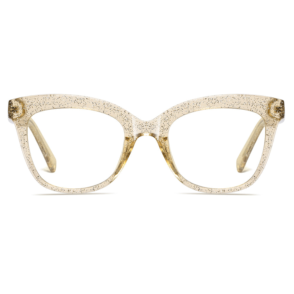 clear almond frame color shaped in square, eyeglasses suits for oval face