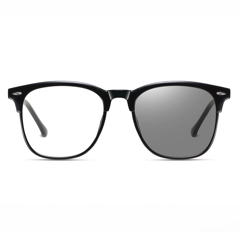 Square black eyeglasses with photochromic lenses