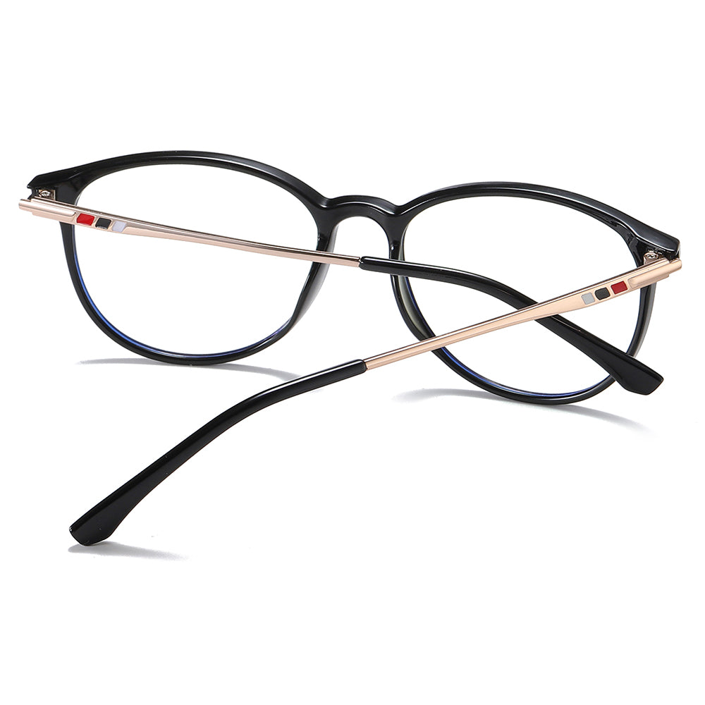 black square frames in gold colors and black ending tips