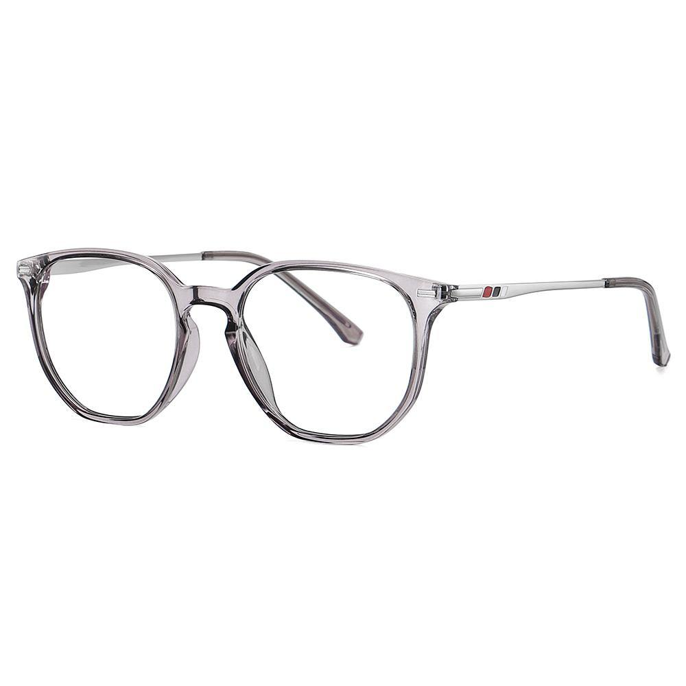 side view of square eyeglasses, grey temple arms, for oval long faces shape