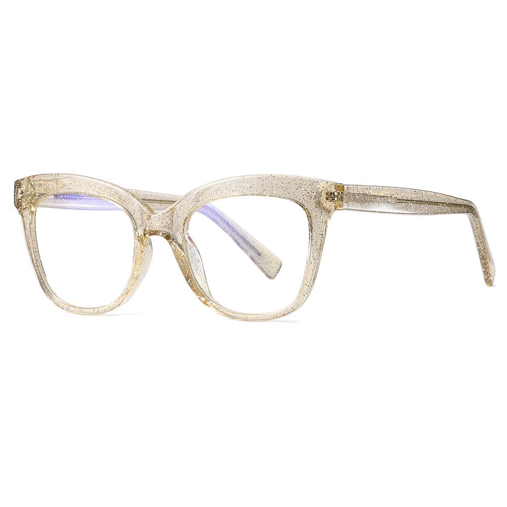 square eyeglasses frames shape in almond whilte color, for round face people
