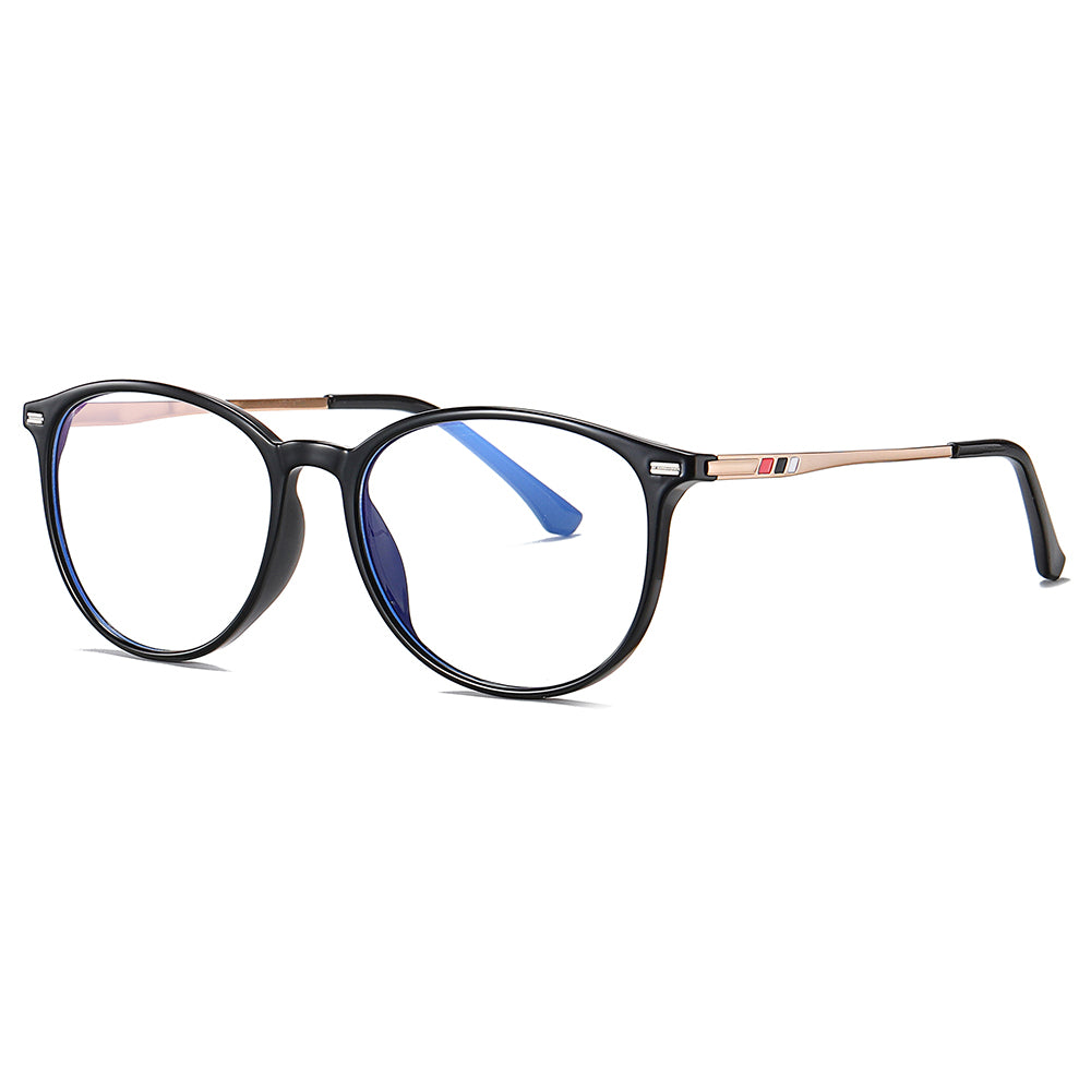 black eyeglasses frames in round square, gold temples