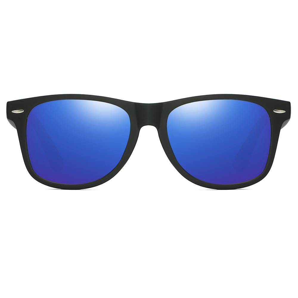 square rectangular sunglasses, black frames and blue lens tinted