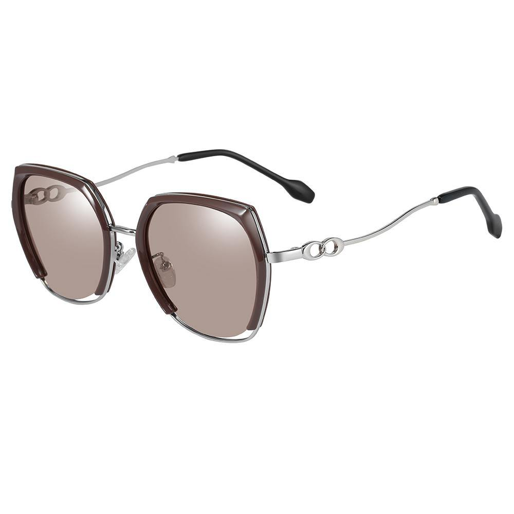 square shaped sunnies with silver temple arms, tea brown tinted lens color