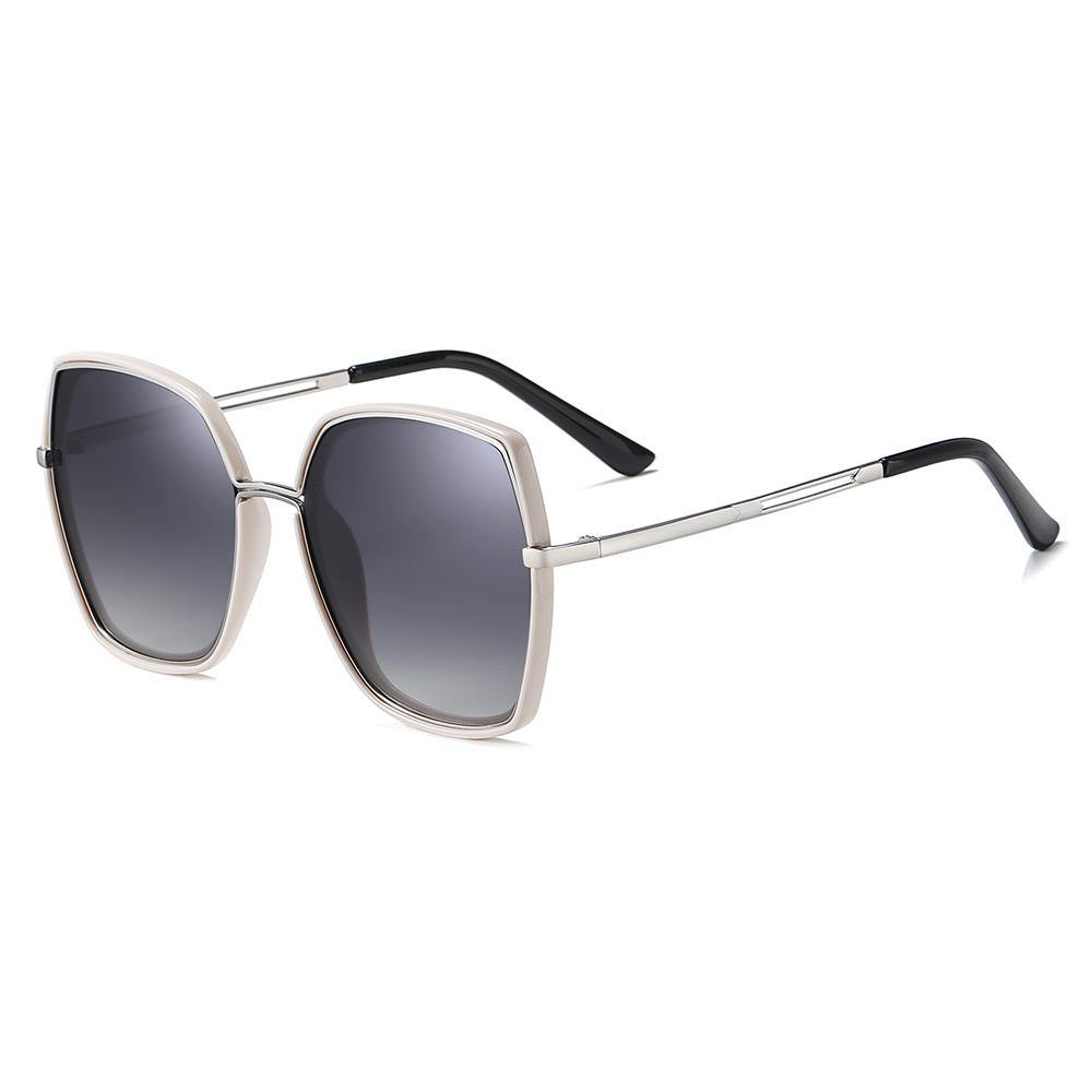 square shaded frames with gray gradient lenses and silver temple arms