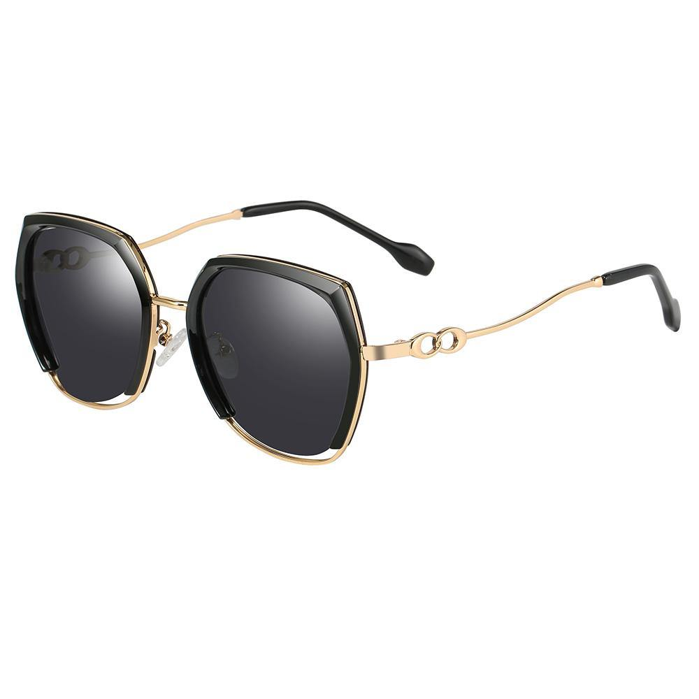 square sunglasses black colored lens, gold frame and temple arms