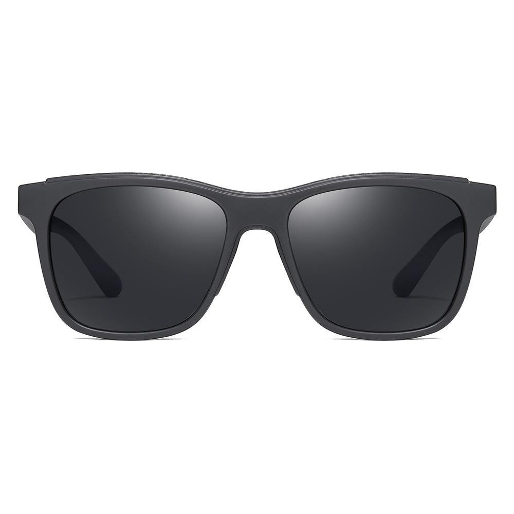 Square sunglasses with black frame, black tinted lens