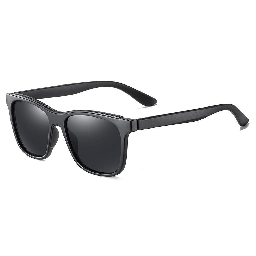 square sunglasses with thick black temple arms, black lens tint