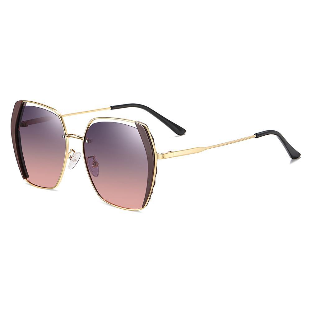 square sunglasses with gold temple arms