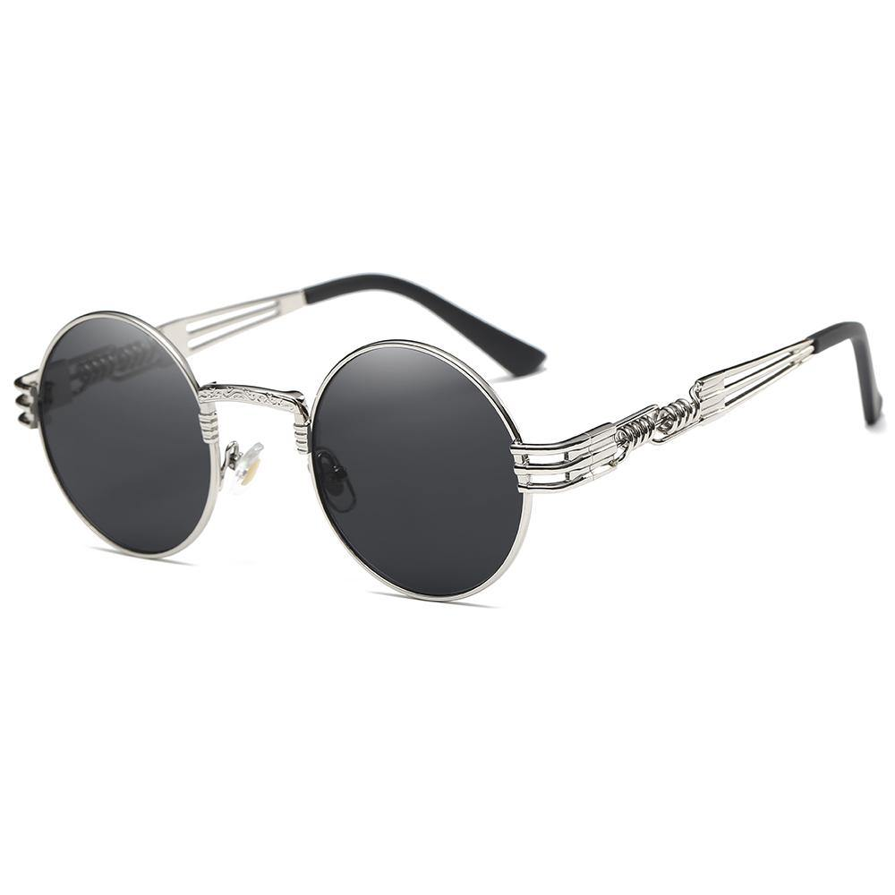 hippie steampunk round shades, black tinted lens