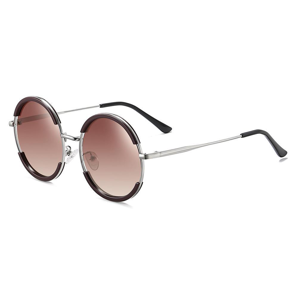 side view of round sunglasses silver temple jam red lenses
