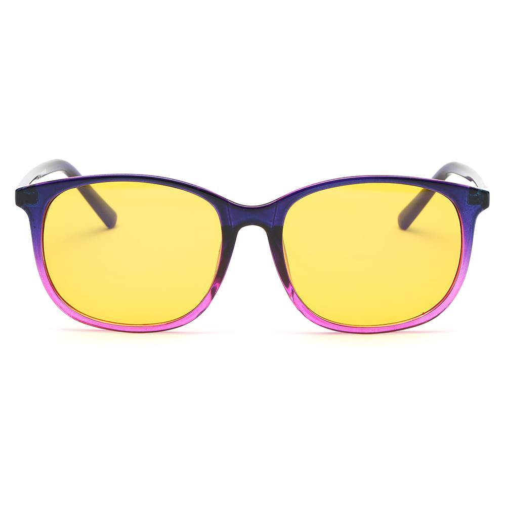 stylish blue purple gradient frames with yellow lens for blue filter function