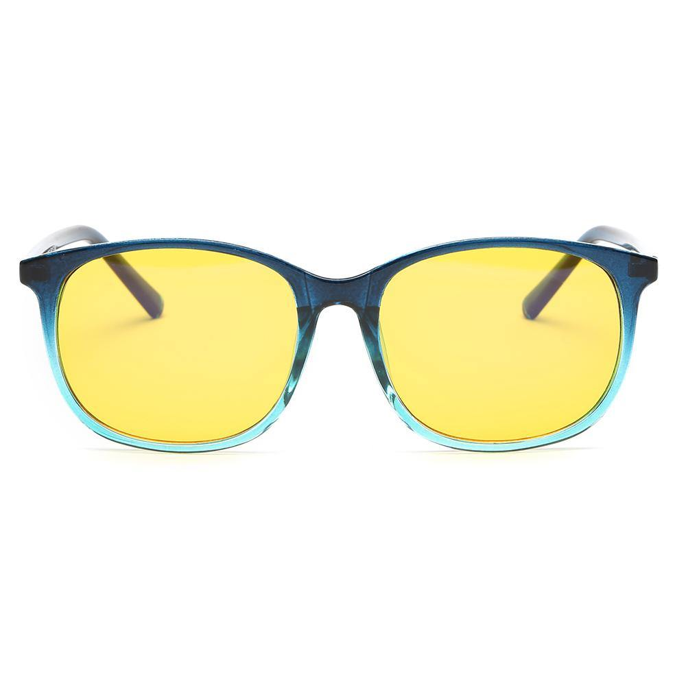 stylish eyeglasses with blue gradient frame color, rectangle shape, yellow tint lens