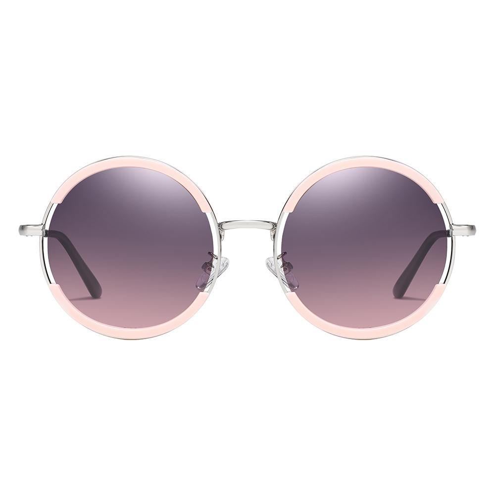 John lennon style round sunglasses with purple gradient lenses and pink frames