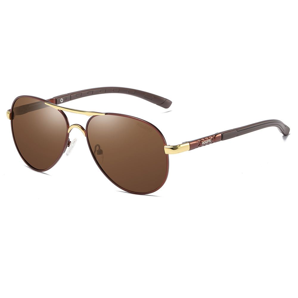 women sunglasses with brown lens and gold double bridge, brown temples