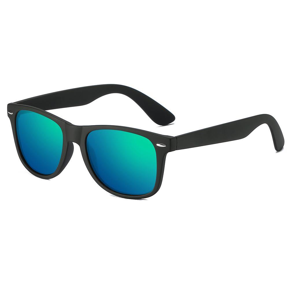 rectangular shaped sunglasses with blue green lens