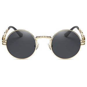 hippie round sunglasses with gold frames, equisite nose bridges, screw spring temple arms