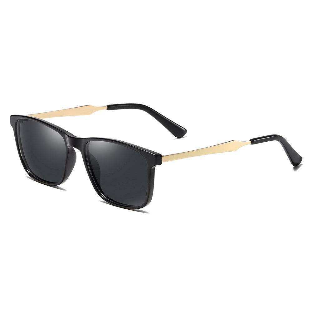Black rectangle sunglasses with gold temple arms and black ending tips