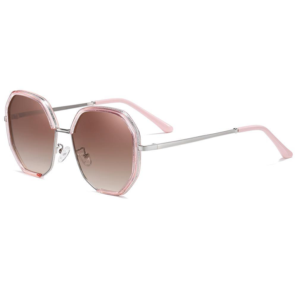 sunshades with gradient lens color, silver temples with pink tips