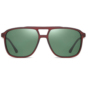 Sunglasses with G15 Color Lens and Titian brown frames, flat top style in square shape
