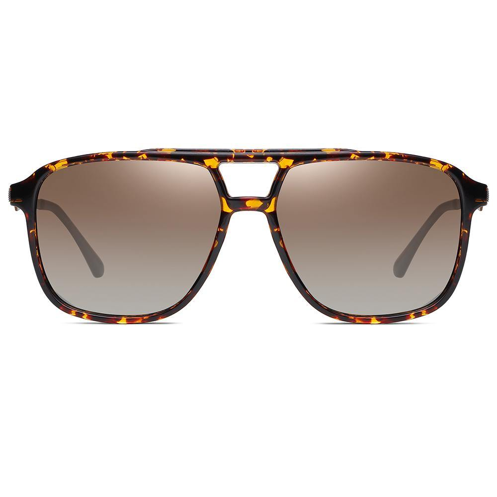 sunshades with square frame shape in tortoise, gradient tea lens color for fishing