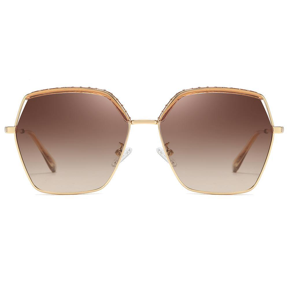 tea brown gradient tinted lens with gold trimmed, big square geometric shape