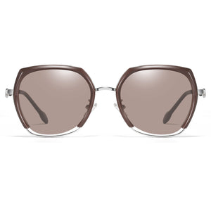 tea brown lens and frames, silver nose bridge
