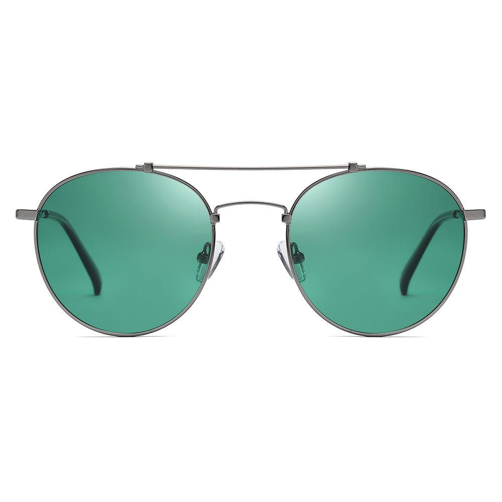 Teal blue lens tinted for this round sun shade for men and women, double bridge designed