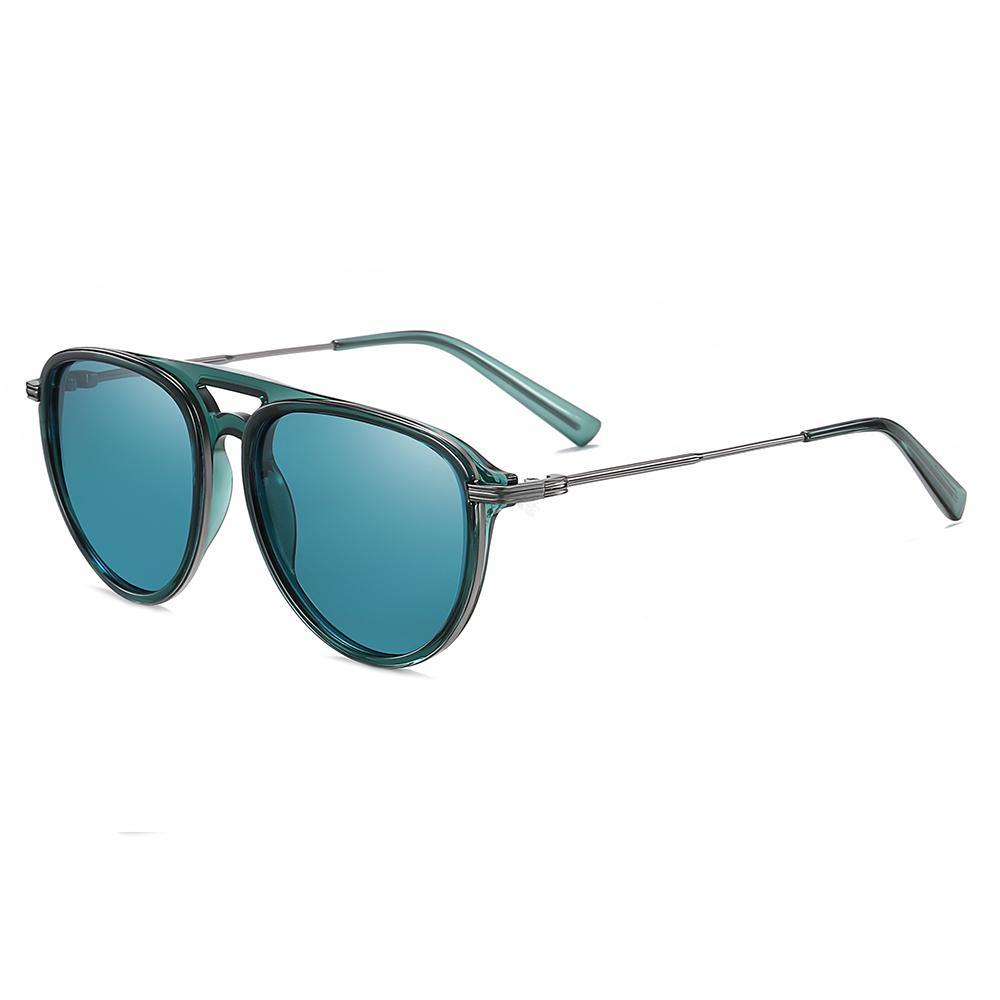 teal blue rounded sunglasses with silver temple arms