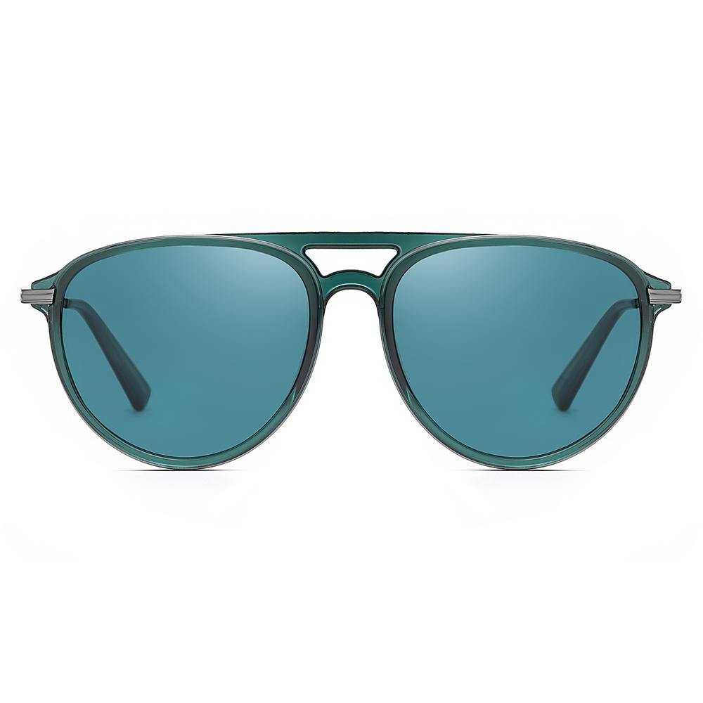 teal blue sunglasses with round frame shape