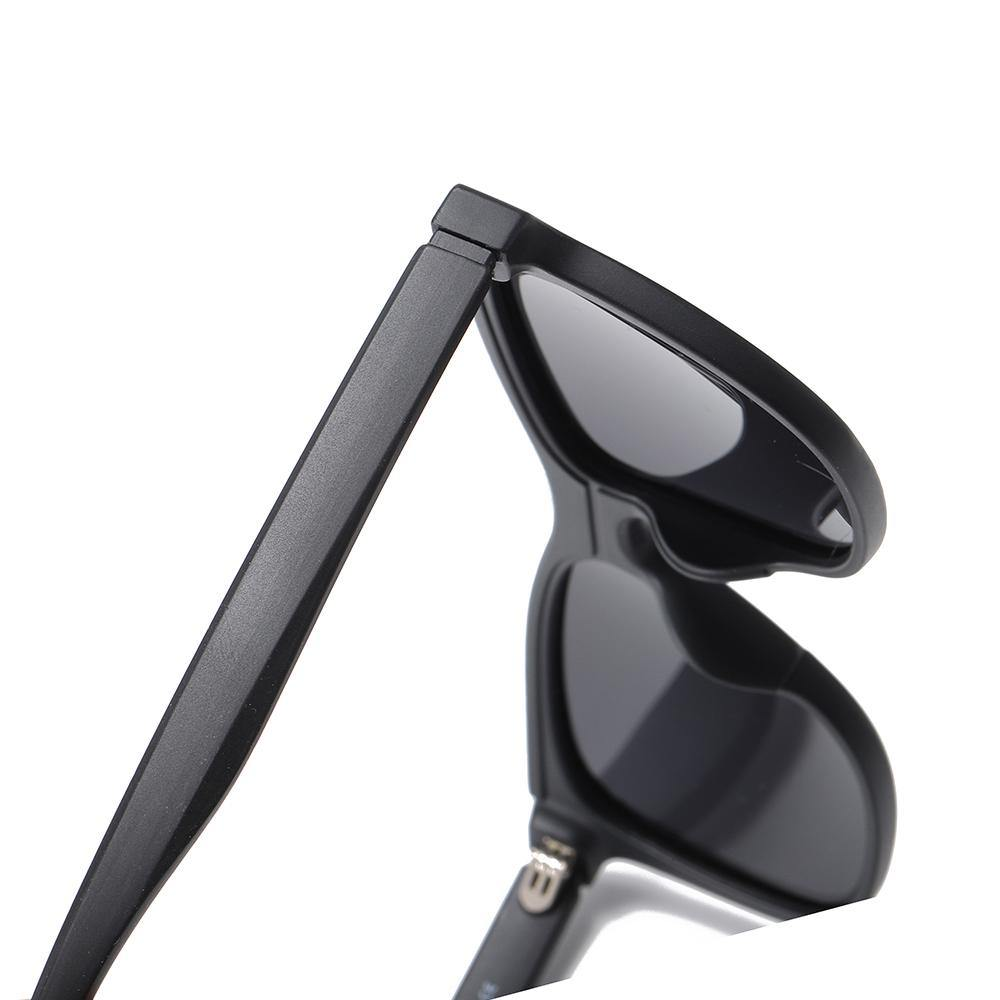 thick temple arms, black sunglasses frame