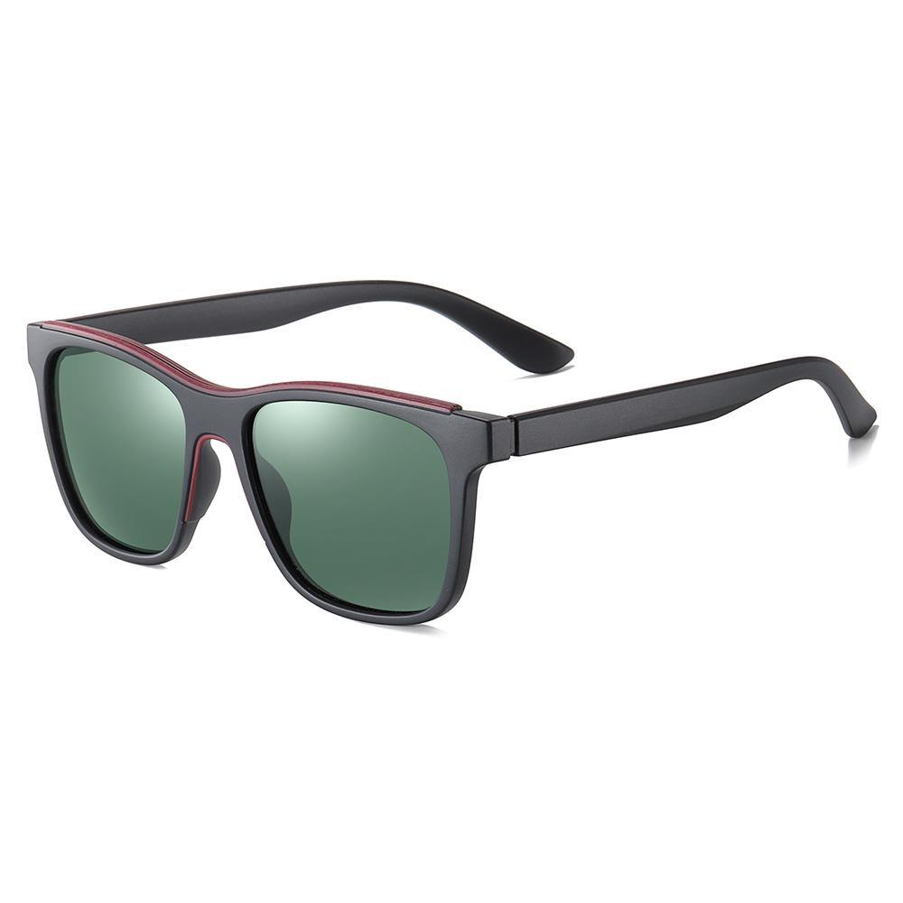 Square sunglasses, G15 lens, black thick temple arms