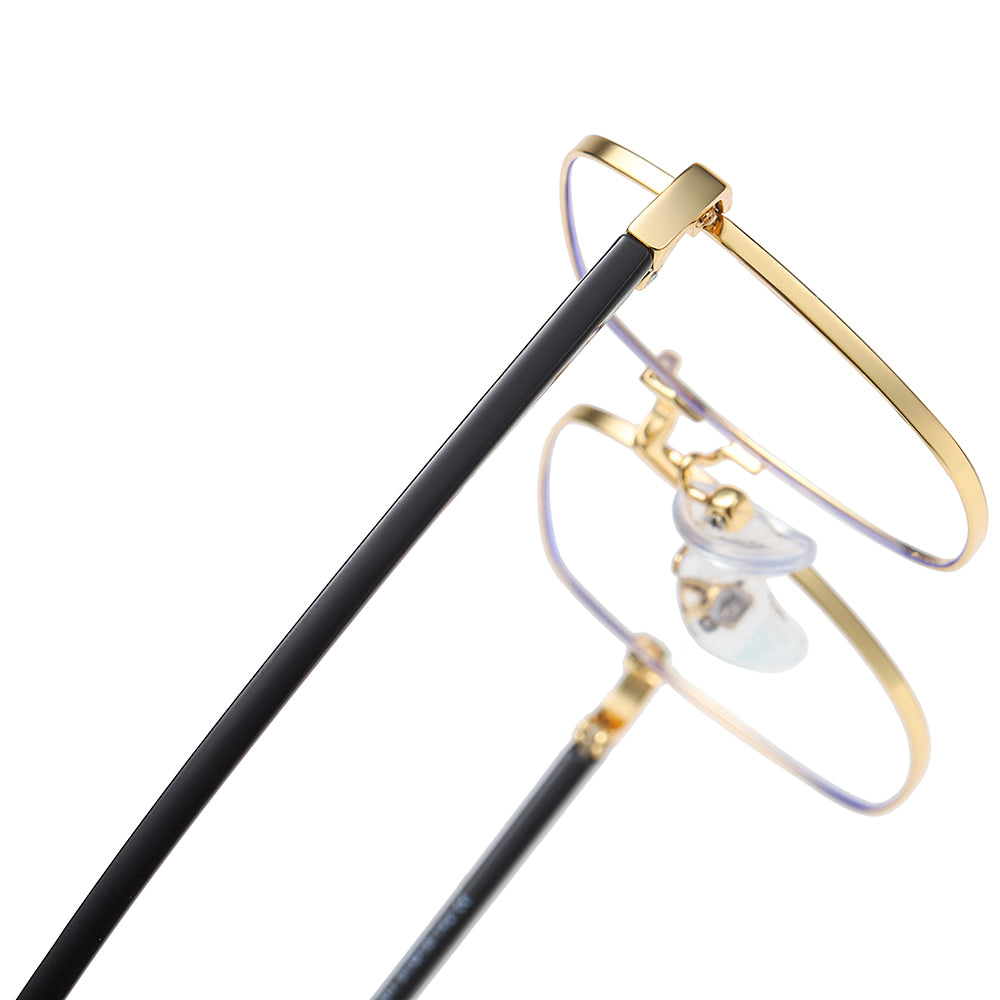 gold thin wire frame and black temple arms