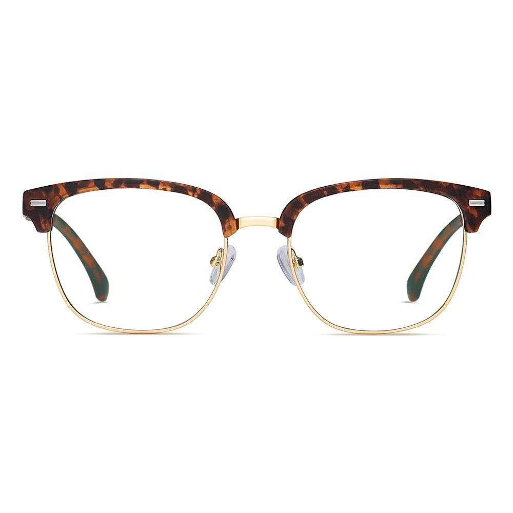 tortoise frame clubmaster eyeglasses, lens trimmed with gold, squared-off round shape