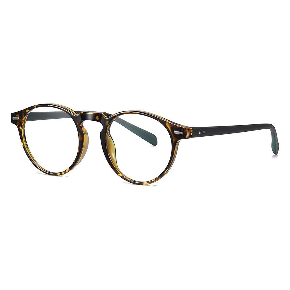 Brown tortoise frame eyeglasses in small round shape with black temple arms