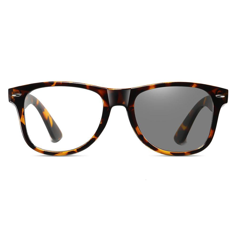squared off black eyeglasses with photochromic lenses, slight rounded bottom edge