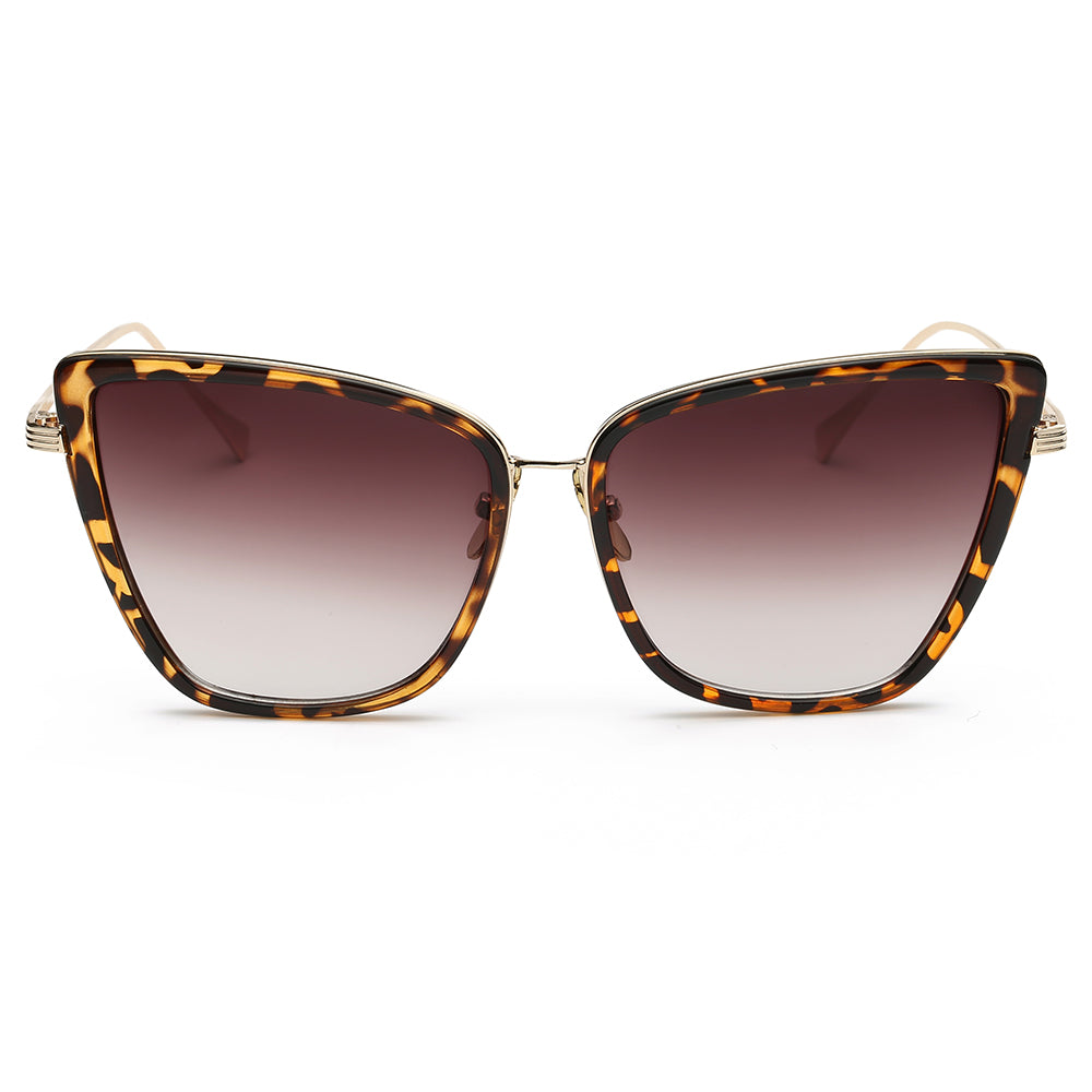 Butterfly shape sunglasses with tortoise frame and gold temple arms