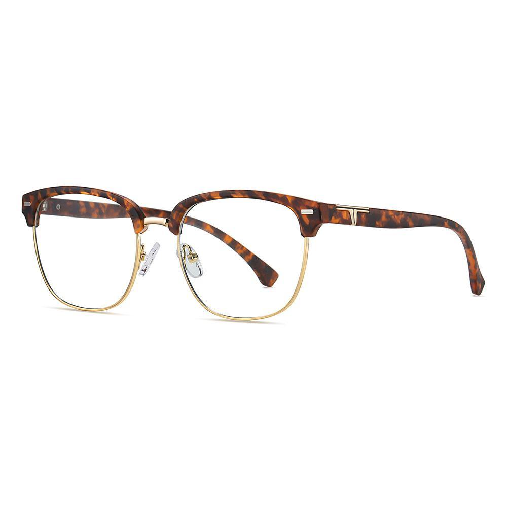 tortoise frame square round eyeglasses trimmed with gold, tortoise temple arms