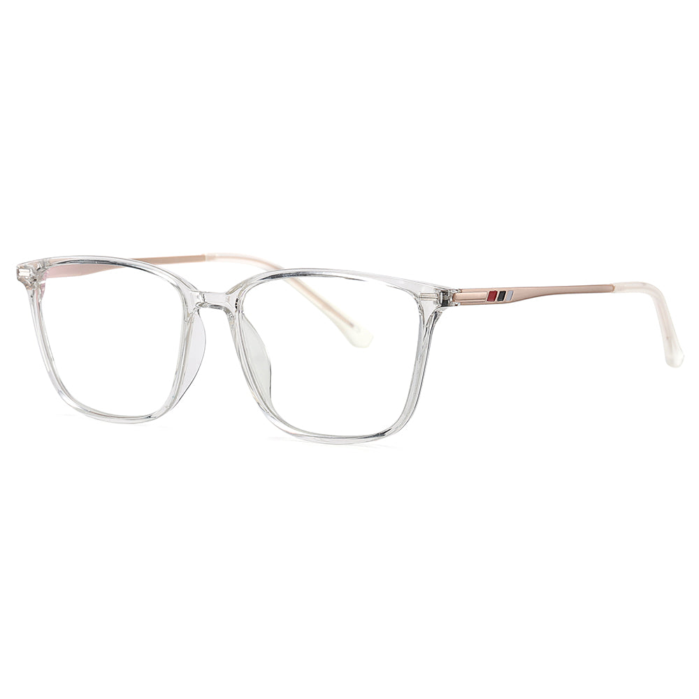 Clear transparent rectangle eyeglasses with gold temple arms