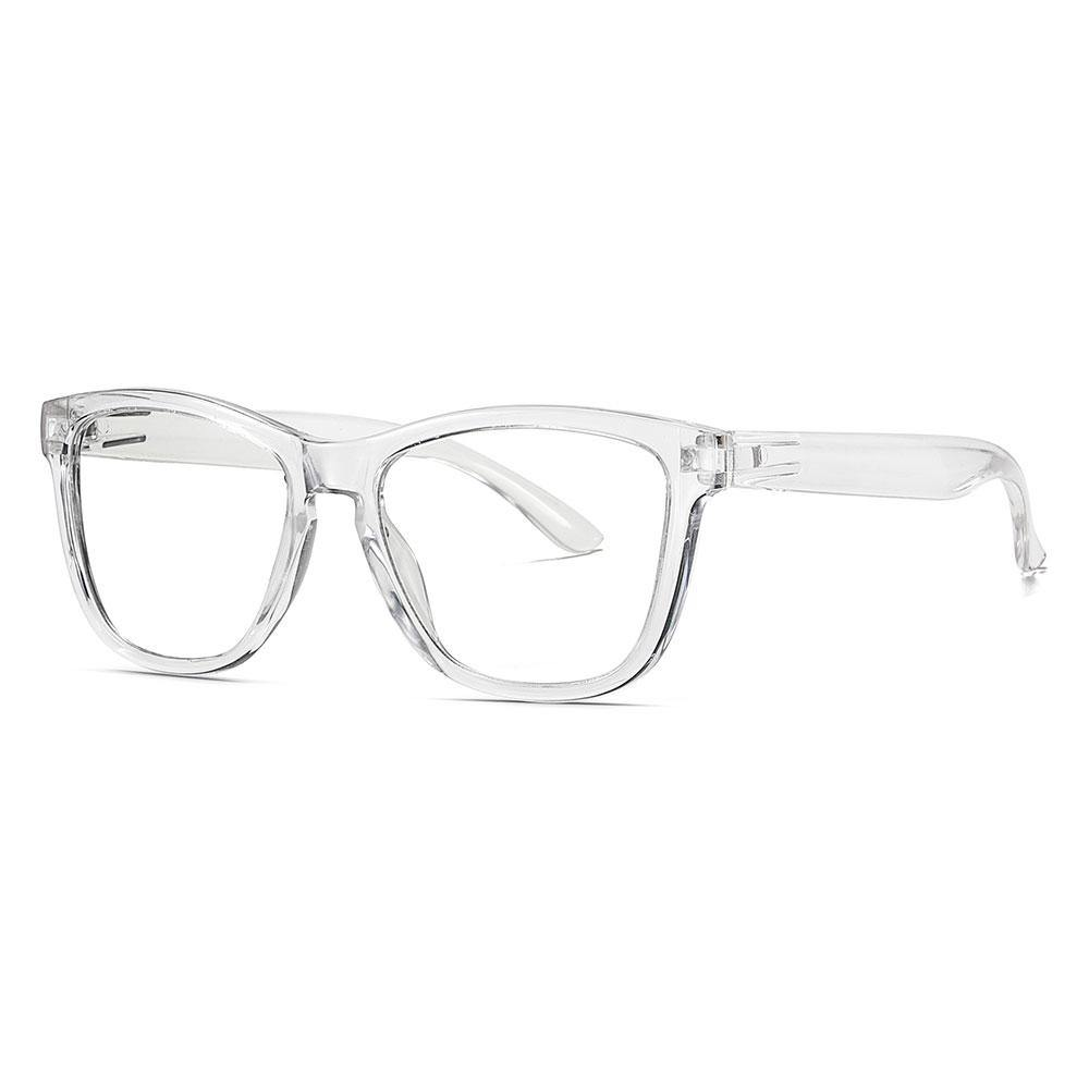 Thick transparent temple arms for the square eyeglasses