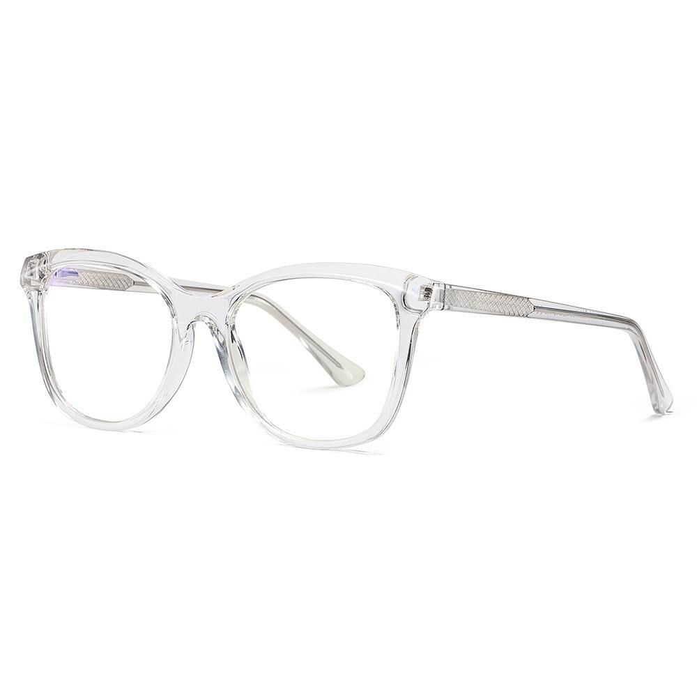 Sideview of transparent eyeglasses, clear frames and temple arms, square shape